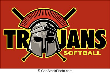 trojans softball team design with helmet for school, college...