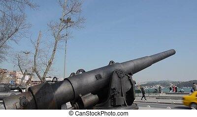 Iron Cannon in Istanbul on Seaside of Bosphorus