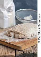 Dough for baking homemade bread.