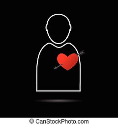 man icon with heart illustration - man icon with red heart...