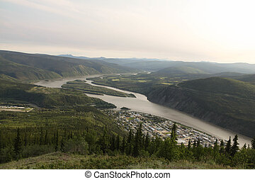 Yukon River Below Dawson City - The Yukon River forks below...