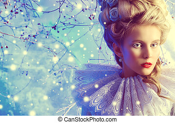 winter enchantress - Close-up portrait of a fairy Ice Queen...