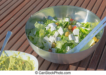 Aerial view healthy low carb salad and homemade spicy...