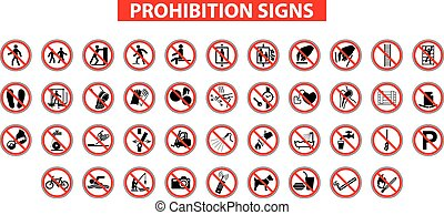 prohibition signs - set of prohibition signs on white...