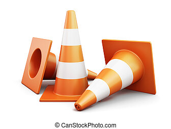 Few traffic cones on a white background 3d render image