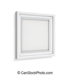 Square picture frame isolated on white background 3d...