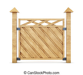 Section of wooden fence on a white background 3d rendering -...