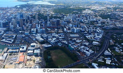 Aerial view of Auckland financial center, New Zealand -...