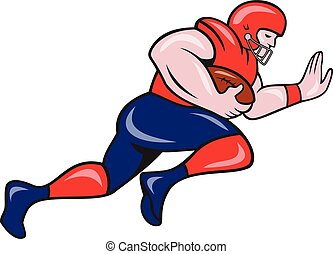 American Football Running Back Charging Cartoon -...