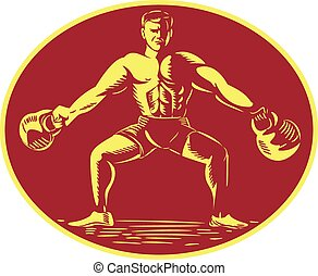 Athlete Lifting Kettlebell Oval Woodcut