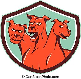 Cerberus Hellhound Multi-headed Dog Crest Cartoon -...
