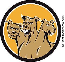 Cerberus Multi-headed Dog Circle Cartoon - Illustration of...