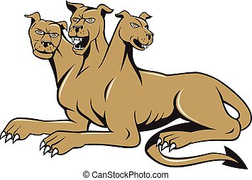 Cerberus Multi-headed Dog Hellhound Sitting Cartoon -...