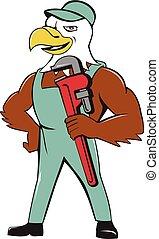 Bald Eagle Plumber Monkey Wrench Cartoon - Illustration of...