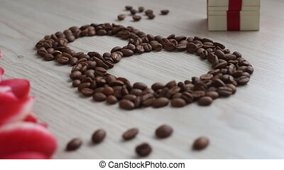 Flowers - tulips, gift, numeral eight of coffee beans on...