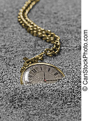 Old gold pocket watch - Gold pocket watch with chain lying...
