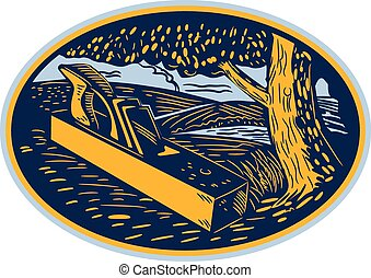 Wood Plane Forest Oval Woodcut