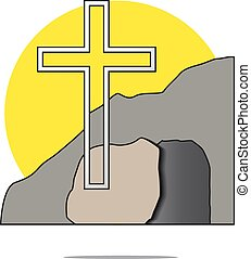 Illustration of easter cross with grave