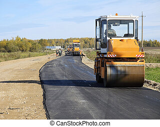 road construction - Laying new asphalt on road construction