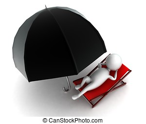 3d man resting with umbrella near by concept in white...