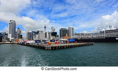Auckland waterfront skyline - AUCKLAND - JAN 31 2016:Cruise...