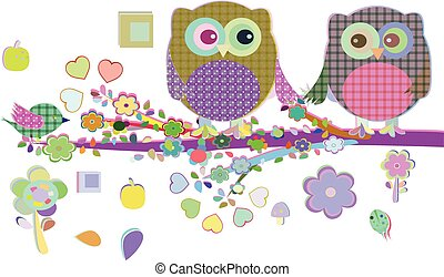 Valentine boy and girl owls sat on a tree branch, vector illustration