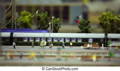 miniature train station - passenger train on the station...