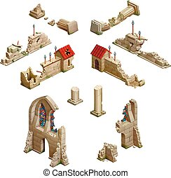 Big set of medieval buildings, isometric game art on white -...