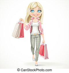 Cute blond shopaholic girl goes with paper bags isolated on...