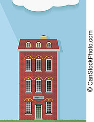 Illustration, the red brick house o