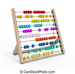 Abacus with multi colored balls isolated on white...