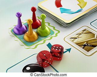 Board game pawns, dices and cards on boardgame table.