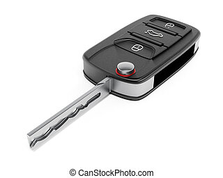 Car key - Open car key isolated on white background.