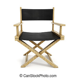Director chair - Wooden director chair isolated on white...