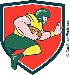American Football Running Back Charging Crest Cartoon -...