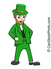 Leprechaun St Patricks Day cartoon character. Vector