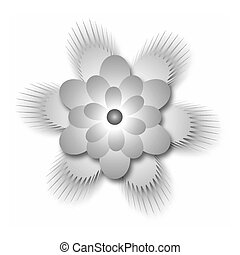 Gradient monochrome stylized flower. Vector gradient...
