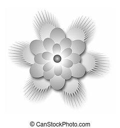 Gradient monochrome stylized flower. Vector gradient...