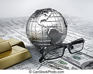 Global finance concept, gold and money on stock exchange...