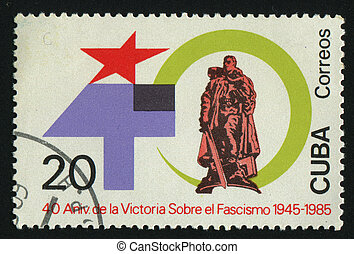 postmark - CUBA - CIRCA 1985: The Second World War end....
