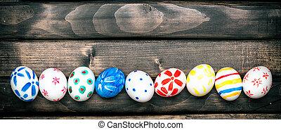 Easter eggs on old boards - Easter Egg. Easter eggs on old...
