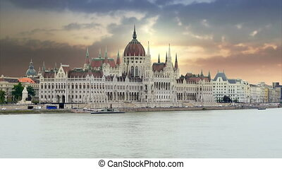 """Budapest View with Parliament Building and Danube River, 4k"""
