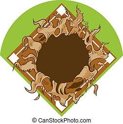 Hole Ripping out Baseball Diamond - Vector cartoon clip art...