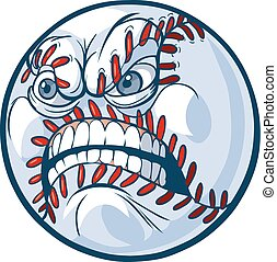 Baseball with Angry Face Vector - Vector Cartoon Clip Art...