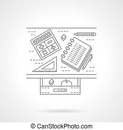 School desk flat line vector icon