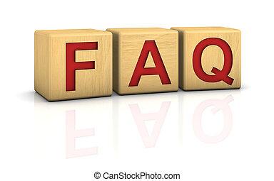 Wood blocks FAQ - Wood blocks with word FAQ on a white...