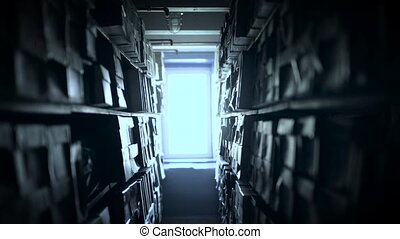 Shelves of documents stored in archive - Shelves full of...