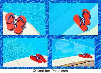 par, de, rojo, flip-flops.,