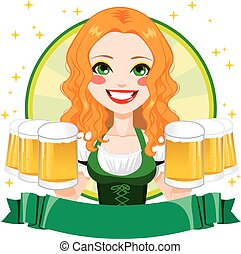 Saint Patrick Waitress Girl Banner - Beautiful Saint Patrick...