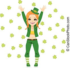 Happy Leprechaun Girl - Cute happy girl with leprechaun...